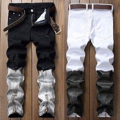 XTX Men Casual Straight Pleated Moto Biker Stretchy Denim Jeans Pants