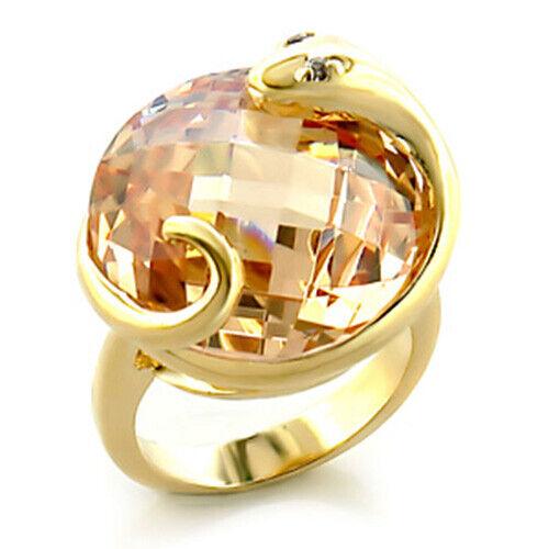 Ring Luxury Gold Plated 18k Woman Fashion Chic Modern Set Zirconium Citrine