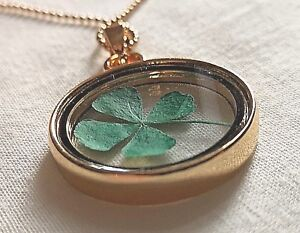 Real 4 Leaf Green Clover Gold Necklace Good Luck of the Irish Hand Made Lucky UK