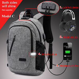 Anti-theft-Men-Women-USB-Charging-Backpack-Laptop-Notebook-School-Travel-Bag