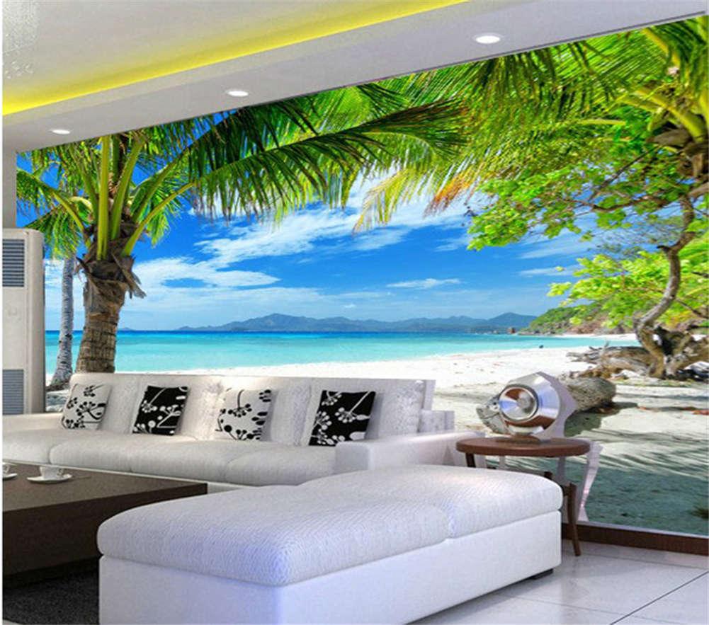Coconut Trees Seascape 3D Full Wall Mural Photo Wallpaper Print Home Kids Decor