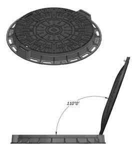 Schachtdeckel-Kl-A15-DN600-GRUN-Schachtabdeckung-Kontrollschacht-zum-Aufklappen
