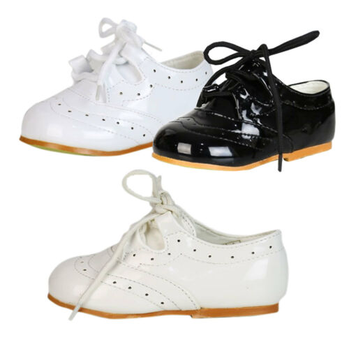 Baby Boys Black Patent Brogue Babies Shoes Lace Up Formal Wedding Smart Brogues