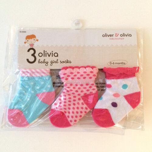 Baby girl garçon chaussettes presentation pack de 3 divers modèles couleurs 0-6 mois