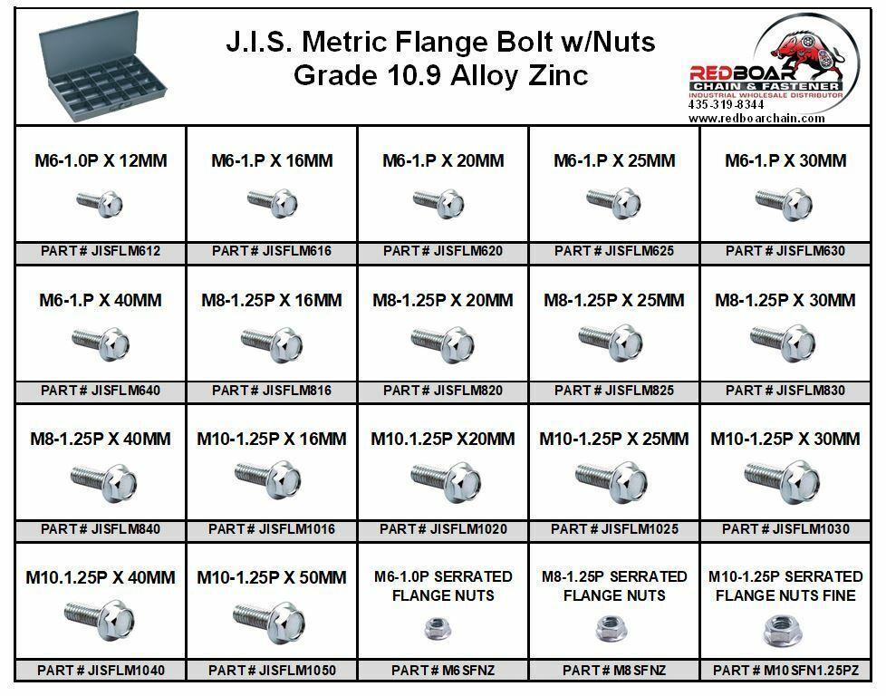 M6 M8 M10 M12 Metric Class 10.9 JIS Hex Cap Flange Frame Bolts /& Nuts Zinc Assortment Kit 375 Pieces!