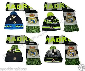 6c40730e15b Real Madrid Set Scarf Reversible and Beanie Pom Pom Skull Cap Hat