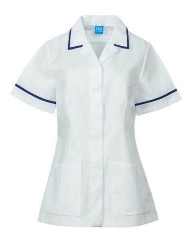 Grahame Gardner Ladies Medical Healthcare Tunic White Navy Blue Size 32