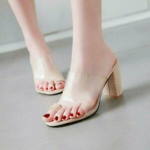 a9582e2a477 Details about Ladies Toe Ring Transparent PVC Slingback Mules Sandals Block  Heel Slides Shoes