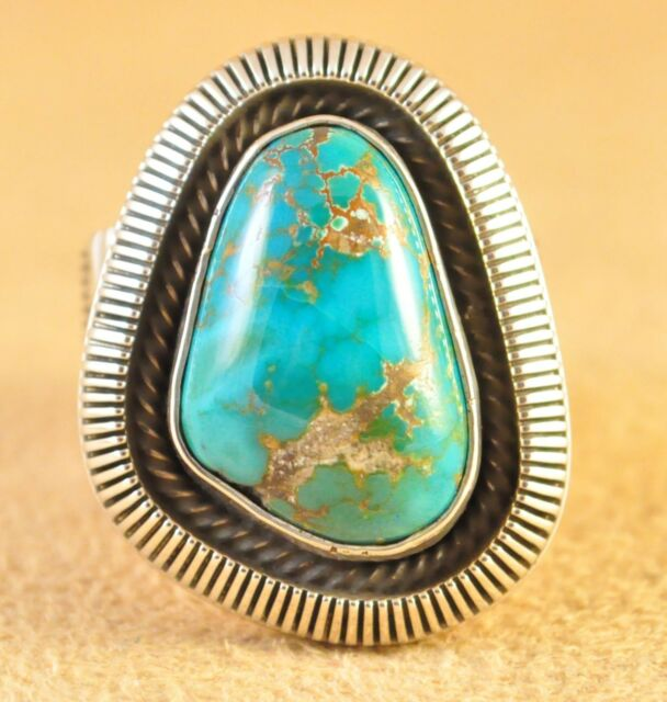 Sterling Silver Gem Grade Royston Turquoise Old Style Navajo Ring Ned Nez USA