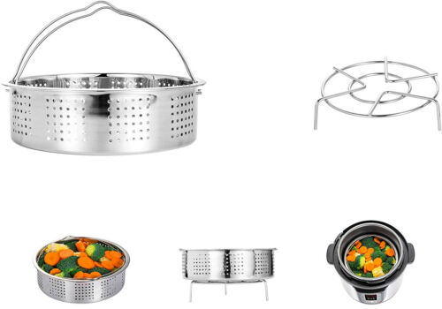 HapWay Stainless Steel Steamer Basket with Steam Rack trivet Compatible 5,6,8