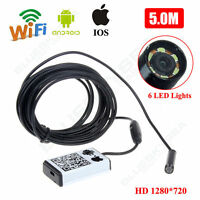 Wifi Endoscope Borescope Inspection Waterproof 9mm Cam For Android Iphone Ios