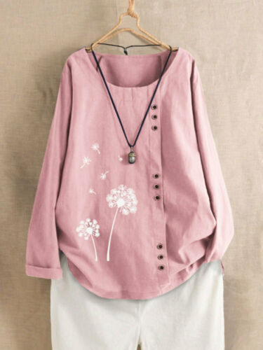 UK Womens Floral Long Sleeve Linen Baggy Blouse T Shirt Tunic Top Plus Size 6-24