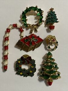 7 Vintage Christmas Pins / Brooches Gold Tone Rhinestones Assorted Holiday Pins