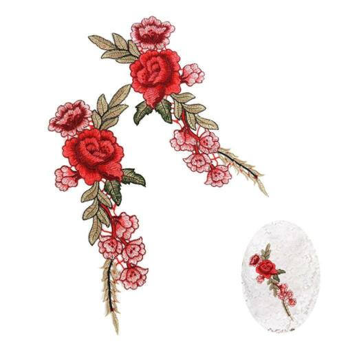 2x Embroidery Red Rose Flower Sew Iron On Patch Badge Clothes Fabric Applique