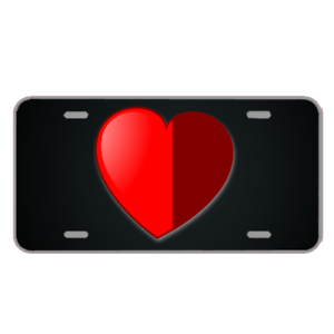 Custom-License-Plate-With-Red-Heart-Half-Shaded-Design