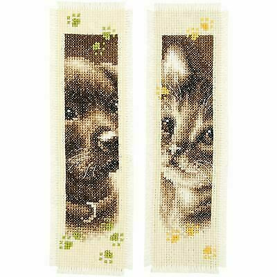 1x Counted Cross Stitch Kit Bookmark Cheerful Cats Set of 2  Sewing Craft Tool