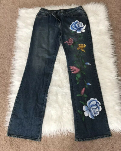 Vintage Willi Smith Floral Painted Boot Cut Jeans