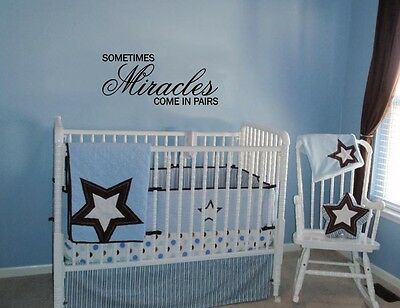 Sometimes Miracles Come In Pairs Wall Decal Quote Words Lettering Baby Nursery Ebay