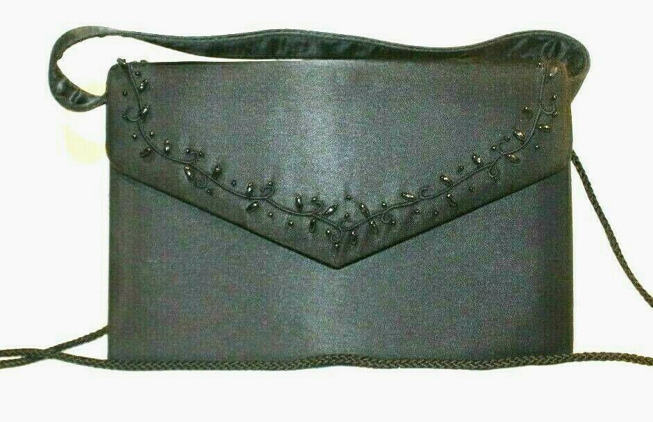 Purse Black Beaded Small Handle or Removable Strap Snap Close Wedding Evening