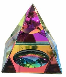 """Crystal Iridescent Pyramid - Rainbow Colors 2.3"""" with Gift Box"""