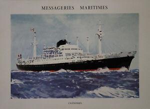 """""""messageries Maritimes / Caledonien"""" Affiche Originale Entoilée Brenet Années 60 Gwwmvn5z-07222749-134901070"""