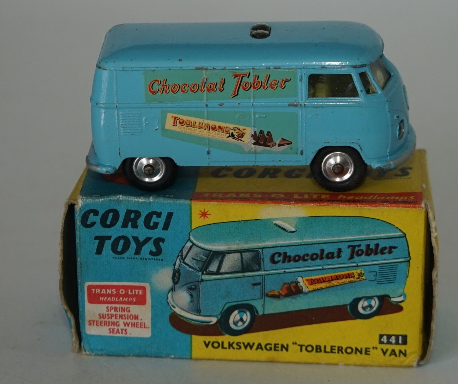 Corgi Toys 441 VolkswagenToblerone Van Pale bluee with TRANS-O-LITE lights