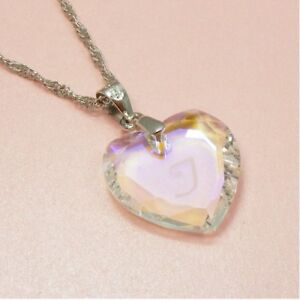 925-STERLING-SILVER-Stamped-CHAIN-Made-w-SWAROVSKI-Crystal-HEART-Disc-NECKLACE