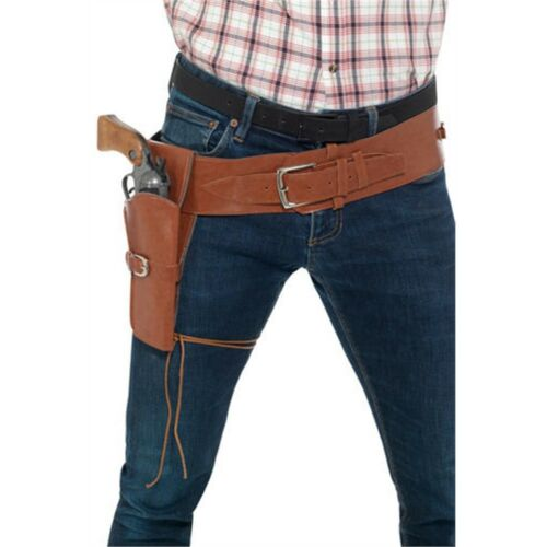 Adult Faux Leather Single Holster With Belt Cowboy Fancy Dress Wild West