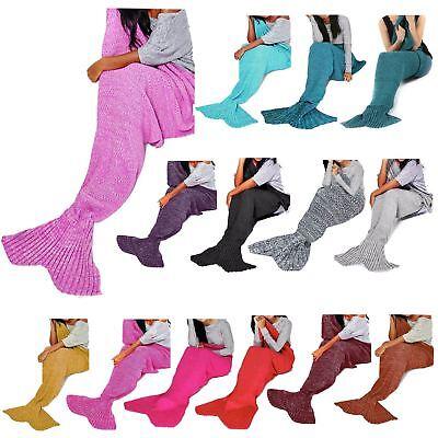 Geleerd New Womens Mermaid Crochet Knit Cocoon Fishtail Sofa Quilt Rug Lapghan Blanket