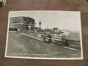 Real-photographic-Kent-postcard-Captain-Digby-Hotel-Broadstairs-old-cars
