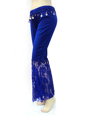 Performance Belly Dance Tango Salsa Long Elastic Coin Lace Flare Pants