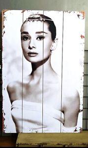 Toile Plaque Panneau En Bois murale Audrey Hepburn 40*60CM