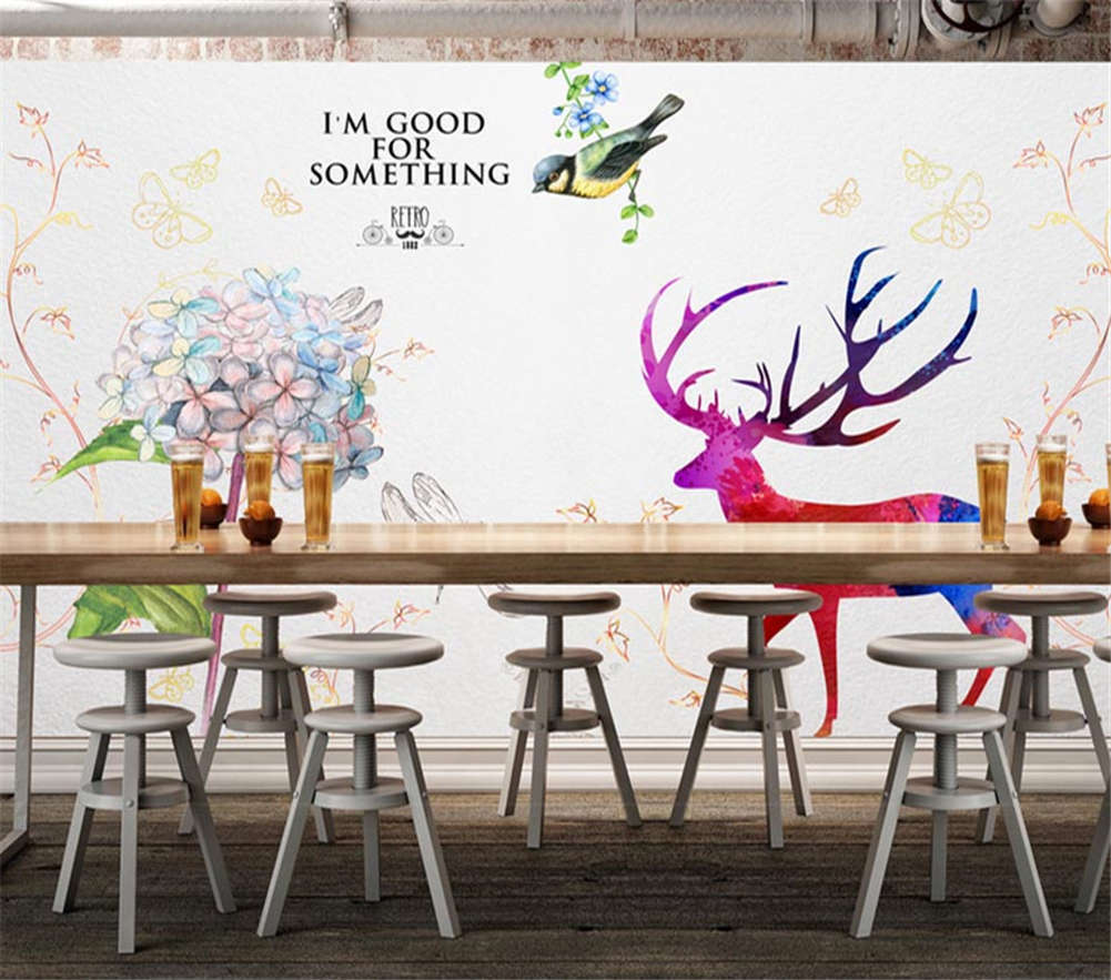 The colorful Deer 3D Full Wall Mural Photo Wallpaper Printing Home Kids Decor