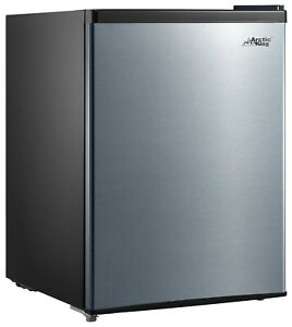 Mini Refrigerator 2.4 Cu Ft Stainless Single Door Small Fridge Dorm Office