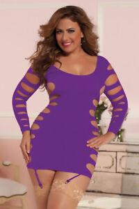 Cage Flashy Dress Women's One Size Purple Plus Seamless aBZnwWfUq