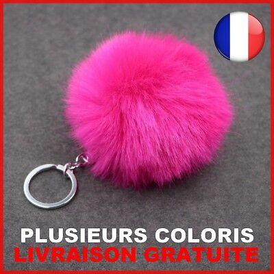 Porte-cles Pompon Boule de Fourrure de Lapin Artificielle Noir Z5G3