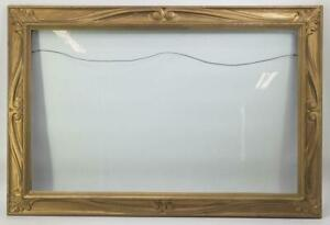 """Vintage Large 25-1/2""""x38"""" Painted Gold Wood Ornate Picture Frame"""