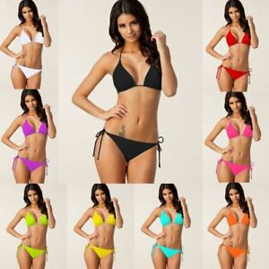 GroßZüGig Ladies Triangle Bikini Top Push Up Beach Bra Side Bademode Tie Bottom Swimsuit Swimwear