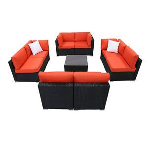 Details About Kinbor 9pc Rattan Wicker Sofa Outdoor Patio Sofa Set With Orange Cushions Seat