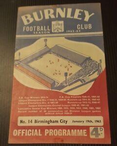 Burnley-v-Birmingham-City-Programme-19-01-63-Match-Postponed