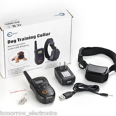 300 Yard LCD 100LV Level Shock Vibra Remote Pet Dog Training Collar Medium Large