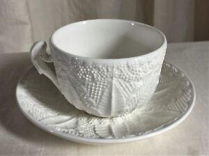 Tiffany-amp-Co-Este-Ceramiche-Vintage-sunflower-teacup-set-White-embossed-design