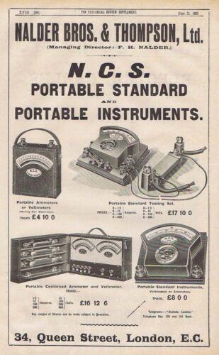 NALDER BROS /& THOMPSON LTD Ammeters /& Voltmeters Antique Engineering Advert 1905