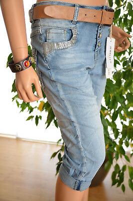 Rational Jewelly Lexxury Boyfriend Jeans Hose Capri Bermuda 34-42 Pailletten Neu Italy S.