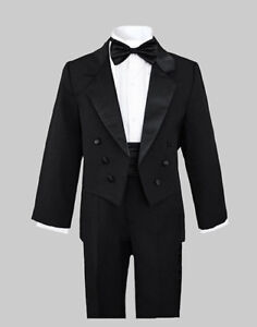 BOYS BLACK TUXEDOS SUIT SETS W/TAILS, WEDDING, RECITAL, Size: 2T to 20