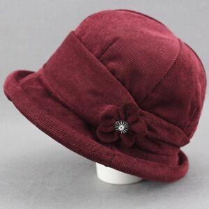 Women-Lady-Corduroy-Floral-Bucket-Hat-Bush-Cap-Fishing-Casual-Retro-Solid-Chic