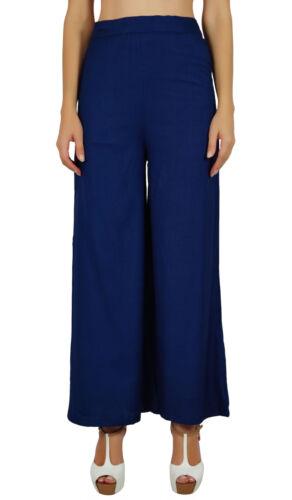 Bimba Womens Rayon Palazzo  Full-Length Pants Back Elastic Waist Pajamas Blue