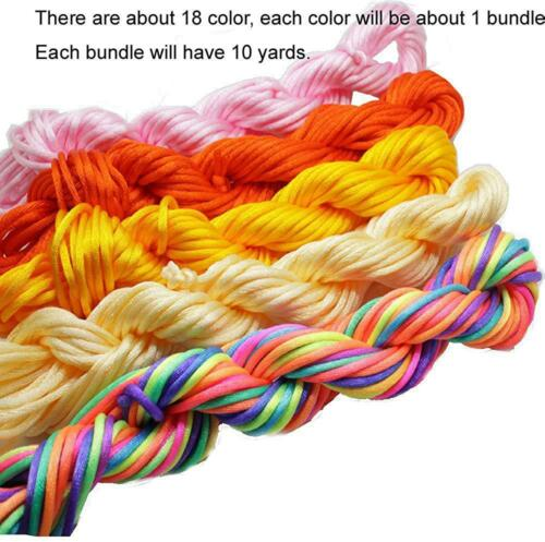PAMIR TONG Full-Colors 18bundles 180 Yards 2.0mm Satin//Rattail Silk Cord for Nec