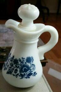Vintage-Avon-blue-amp-white-bath-oil-bottle-empty-for-kitchen-bath-dresser