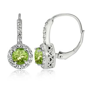 Sterling-Silver-Peridot-amp-White-Topaz-Round-Leverback-Earrings